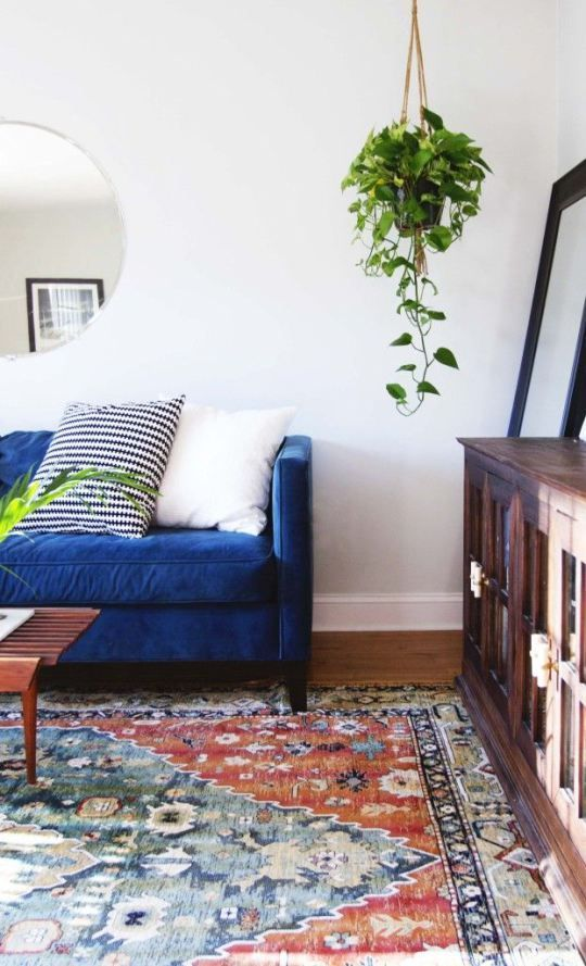 Gingerly Witty Friday LinkFest velvet blue sofa