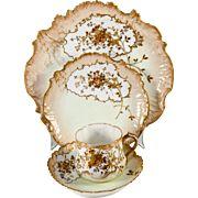 SALE Antique & Opulent French 4-pc Place Setting, Raised Gold Enamel, HP M. Redon, Limoges ...