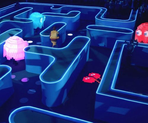 Life Size Pac-Man Game  Experience the rush of becoming one of the most iconic video game characters of all time by playing the life size Pac-Man game. As you run through this ginormous maze youll try to gather as many LED dots as possible without running into Inky Blinky Pinky or Clyde.  Check It Out  Awesome Sht You Can Buy