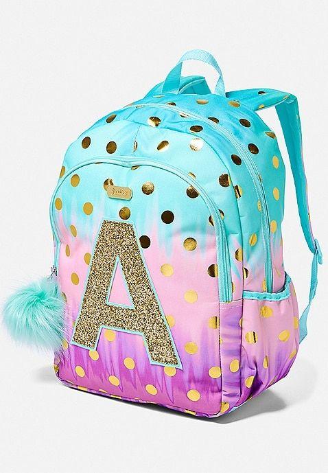 Ombre Foil Dot Initial Backpack Justice Girl Backpacks Girls Bags Cute Mini Backpacks