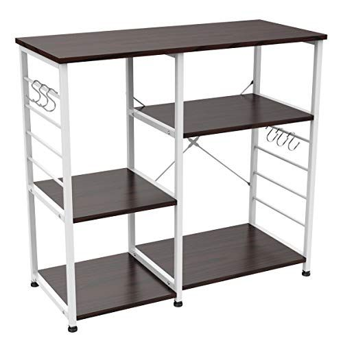 3 Tier Stand Metal White Microwave Cart Bakers Rack Kitchen