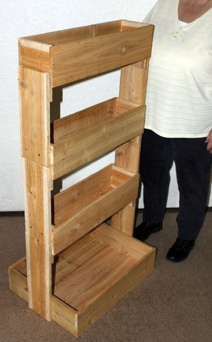 Cedar 4 tier vertical raised garden bed planter new for Vertical pallet garden bed