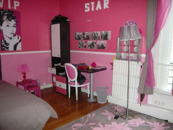 girly newyork room idee deco chambre fille gris et rose3 idee deco chambre fille gris