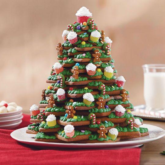 3-D da árvore de Natal Cookies3-D da árvore de Natal -Biscoitos