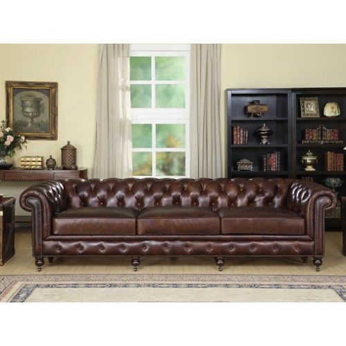 "Upholstered in full grain vintage aniline leather this fantastic sofa features hand-buttoned detailing, refillable seat cushions and simple panelling. <p style=""margin: 0px 0px 10px 10px; color: rgb(27, 27, 27); font-family: Buda, cursive; font-size: 13.63636302947998"