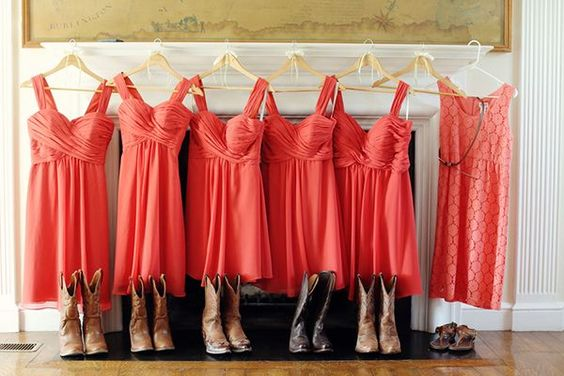 Coral-colored bridesmaid dresses and cowboy boots ...