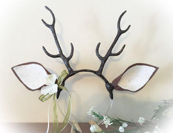deer antler headband flower crown horns christmas. Black Bedroom Furniture Sets. Home Design Ideas