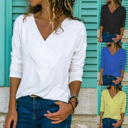Long Sleeve Tops Women T Shirts Solid V Neck 2018 Autumn Winter Tshirt,A,XL