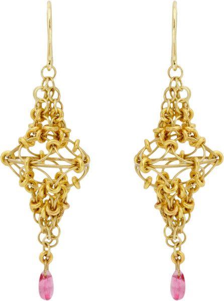 Marie-hélène De Taillac Pink Spinel Gold Spire Drop Earrings in Pink
