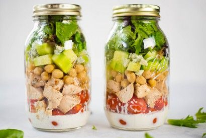 This super tasty chicken cobb mason jar salad is so easy to make, lasts all week, and has a clean ranch salad dressing recipe, too!