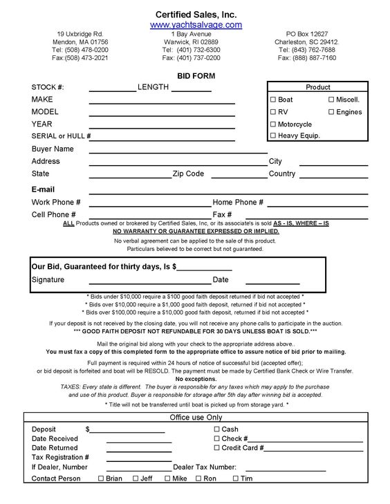 Bid_Form_Page_1jpg - bid form Legal Documents Pinterest - trailer rental agreement template