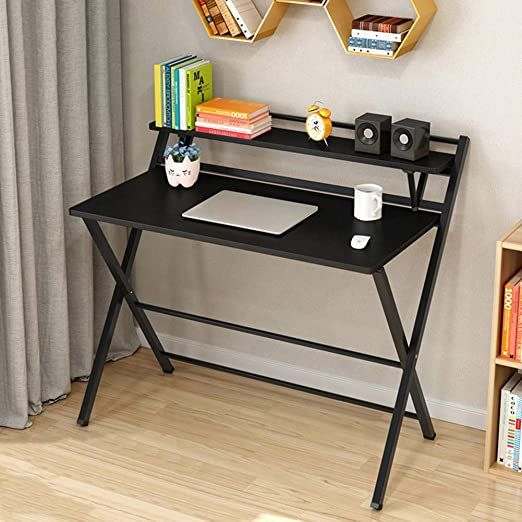 Folding Computer Desk, Portable Folding Computer Desk Laptop Table Workstation Furniture Black