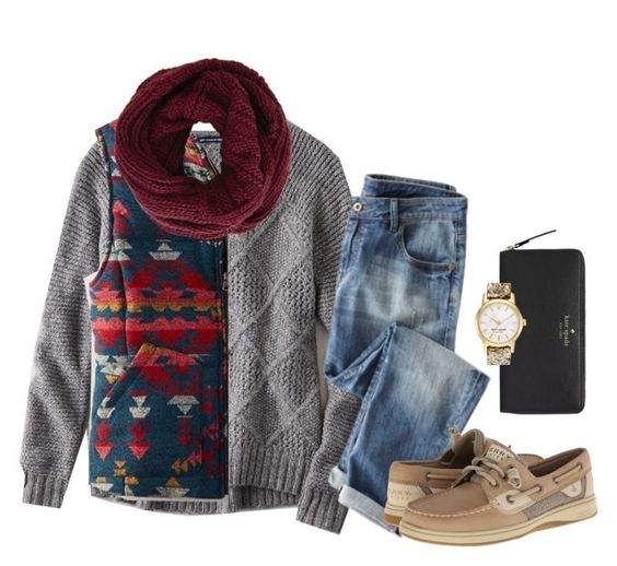 """""""It's snowing!"""" by ambermillard ❤ liked on Polyvore featuring American Eagle Outfitters, BCBGMAXAZRIA, Sperry and Kate Spade"""