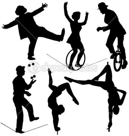 Siluetas de artistas de circo. Ilustración de stock #30224653.
