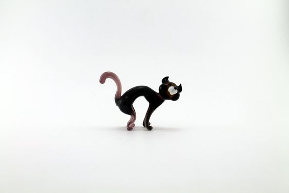 Handcrafted  Brown Glass Cat ,Glass Art,Glass Figure,Collectible Figurine,Glass…
