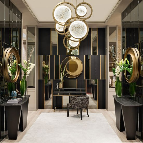 Modern Italian Designer Offset Circles Mirror In 2020 Interior Design Interior Suspended Ceiling Lights