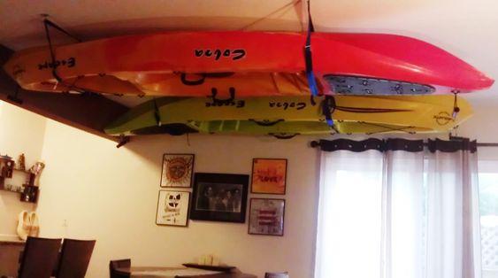 Storing kayaks on ceiling = art!i Indoor kayak storage