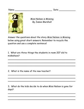 Printables Miss Nelson Is Missing Worksheets comprehension questions that go with miss nelson is missing these were made for students
