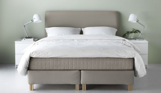 This Dark Beige Lauvik Continental Bed Has A Soft Upholstered