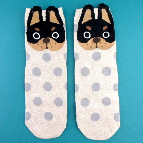 French Bulldog Face and Polka Dotted Patterned Cotton Socks in Khaki | DOTOLY