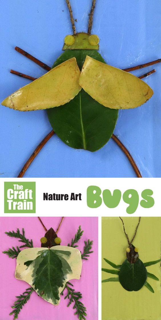 Easy nature art bugs. Make bugs from leaves and twigs. They really pop on bright painted backgrounds made from recycled cardboard, and make fun wall art #naturecraft #kidscrafts #bugs #insects #outdoors #cardboard #kidsactivities