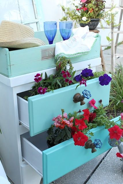 Upcycle old dresser into a planter. Glue on spigots as knobs  @for-the-garden