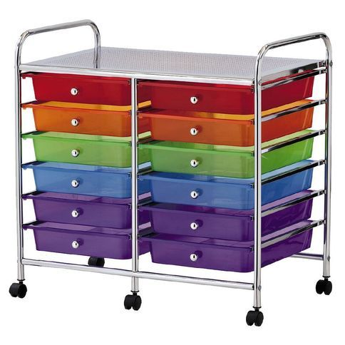 Workspace 12 Drawer Chrome Trolley Multi Coloured Drawers Work Space Chrome