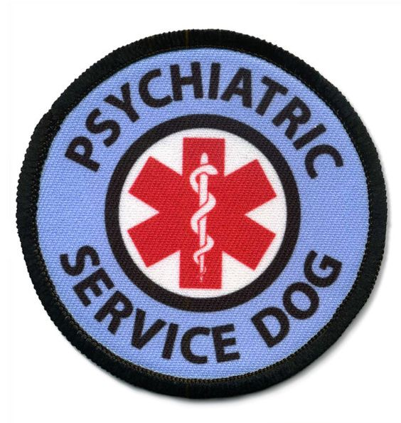 Pink or Blue Psychiatric Service Dog Alert Warning Round Patch Badge with Velcro Brand hook secured to back of patch. Choose the color that best