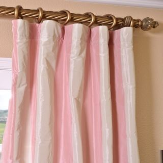 Light Pink/ Cream Stripe Faux Silk Taffeta 96-inch Curtain Panel ...