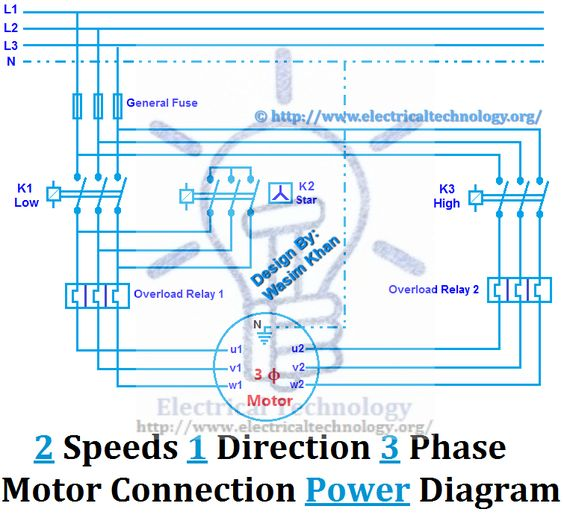 Two Speeds One Direction Three Phase Motor Connection