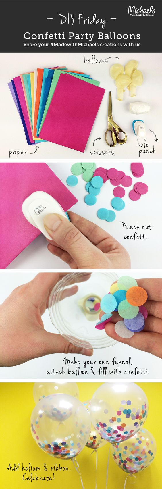Add a pop of color to any party with these #DIYFriday Confetti Balloons! Make in just a few easy steps!: