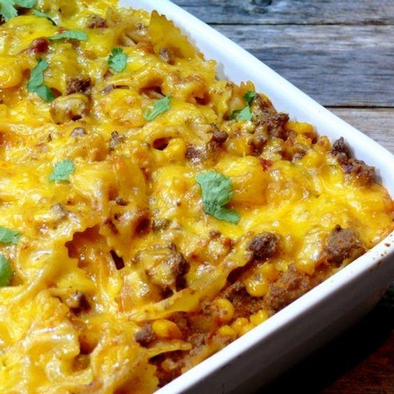 ... bow-tie pasta, shredded Monterey Jack cheese, shredded extra sharp