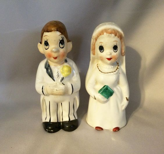 1950s BEFORE & AFTER Bride Groom Turnabout Salt and Pepper Shakers GERMANY / Vintage Wedding Bride Groom Cake Topper - Bridal Shower Gift