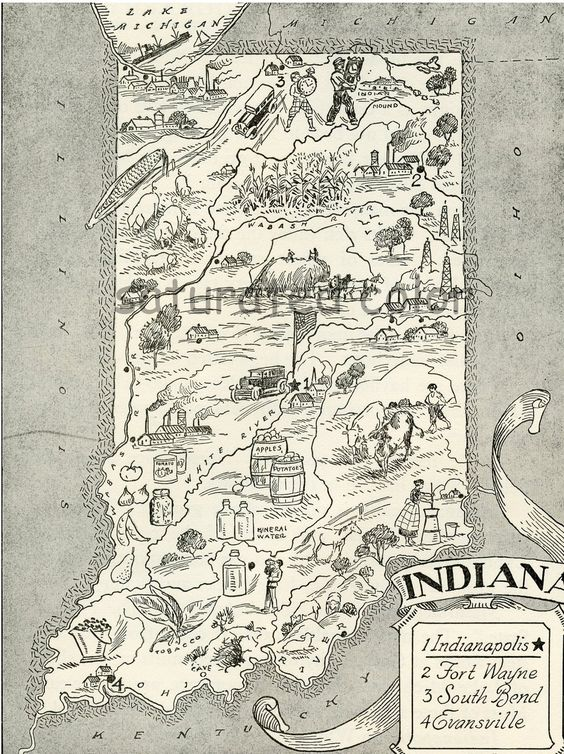 Indiana Map A Delightfully Amusing 1950s ORIGINAL Vintage Map – Indiana Travel Map
