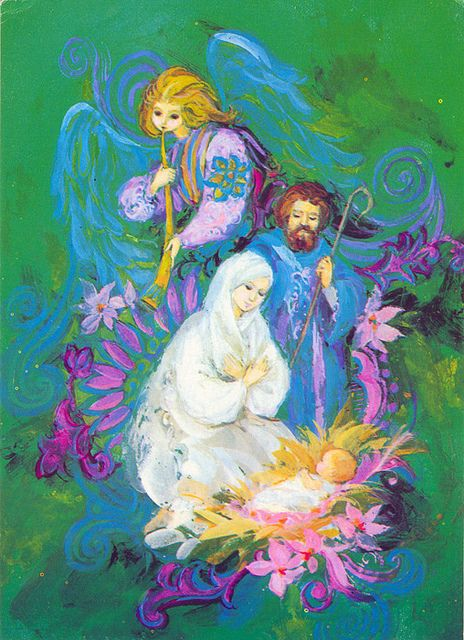 Christmas •~• vintage blue, green, pink, and purple nativity greeting card: