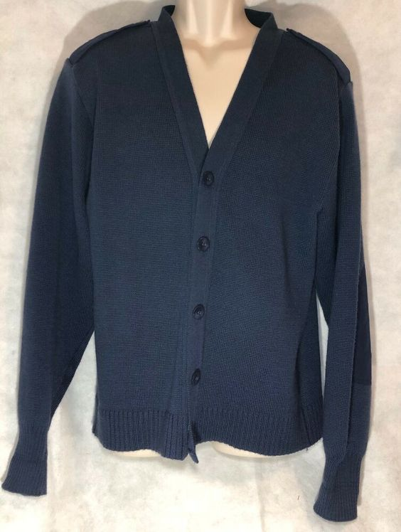 United States Air Force Blue Button Front Sweater Military