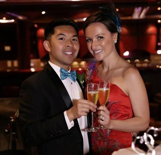 and female male Asian couple white