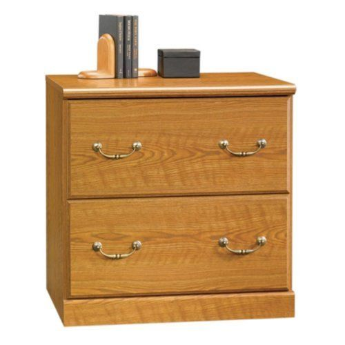 Sauder Orchard Hills 2 Drawer Wood Lateral File in Carolina Oak Finish by Sauder. $205.79. Drawer interlock safety system. Ships ready to assemble. Full extension drawer glides. Holds letter or legal files. The Sauder Orchard Hills collection lateral file is constructed of dense engineered wood with a durable laminate finish in Carolina Oak. Traditional American country style provides endless versatility with finely detailed moldings, raised panel doors, and brass finish hardw...