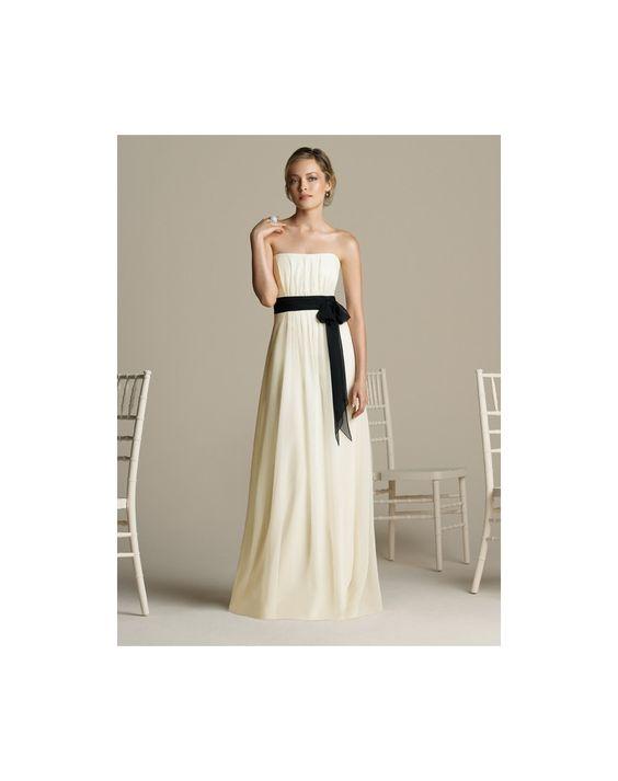 Klassisches A-Linie Empire trägerloses Brautjungfernkleid mit schwarzer Schärpe