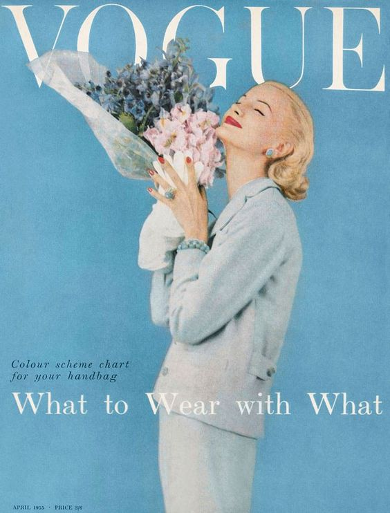 this cover looks like...OUTFIT PLANNING!  Mom Susie would LOVE.  April 1955. Model: Sunny Harnett.