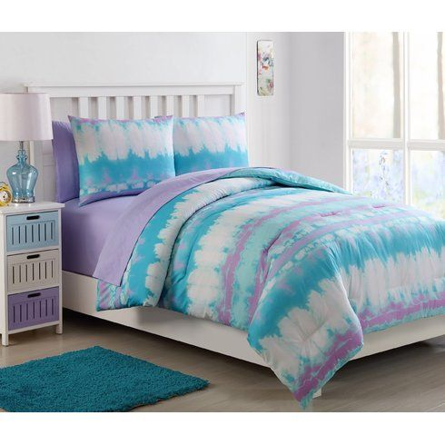 This Mackenzie Tie Dye Bed In A Bag Comforter Set Features An Aqua