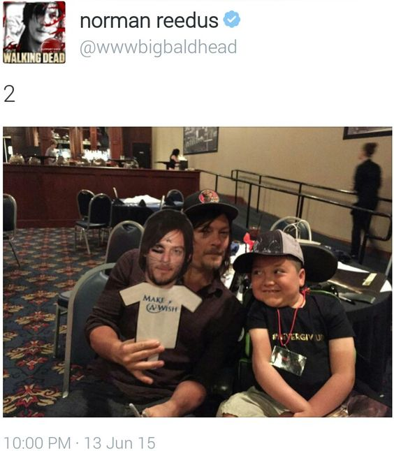 From Norman Reedus @bigbaldhead on Twitter, Make-A-Wish party.