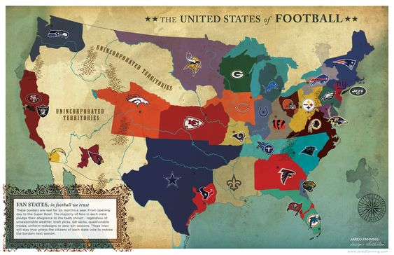 Nfl Team Us Map Globalinterco - Us map of college football teams