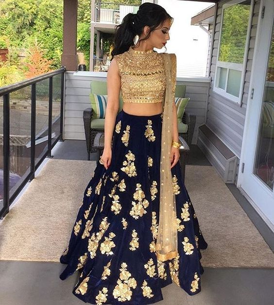 Indian Lehenga Choli Designs For Wedding Royal Blue