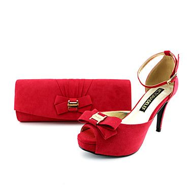 Women's Shoes Platform Stiletto Heel Flocking Sandals Shoes Matching Flocking Clutches Bag More Colors available – USD $ 69.99