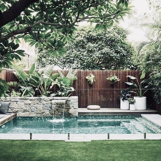 Classic Rectangular Pool With Stacked Stone Water Feature Small