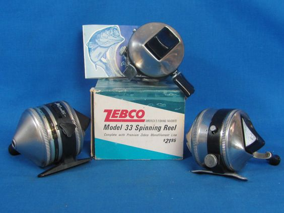 3 vintage zebco fishing reels – model 33 – 1 in box with papers, Fishing Reels
