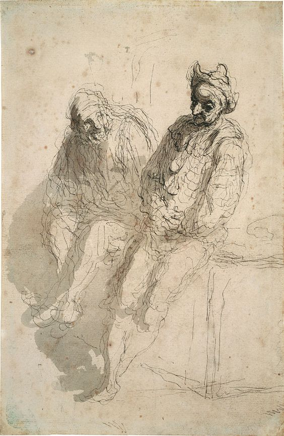 Honoré Daumier (1808-1879), Two Saltimbanques, c. 1865-70, Pen, washed in grey, on ribbed hand-made paper, 241 x 156 mm, Städel Museum, Frankfurt am Main, Photo: Ursula Edelmann.