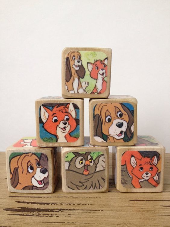The Fox and The Hound // Nursery Decor // Baby Shower // Childrens Book Blocks // Natural Wood Toy on Etsy, $28.00