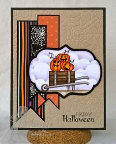 Stamps: Bushel & a Peck (TE) Paper: Halloween Project Pantry (TE), Bazzill Basics Black, Kraft CS Ink: Memento Tuxedo Black (Tsukineko), Dusty Concord, Distress inks (Ranger) Accessories: Label Stacklets 1, Cloud border Die, Spooky Impression Plate(TE); Markers (Copic), Foam tape.